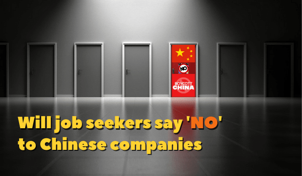 Will job seekers be wary of working with Chinese companies?